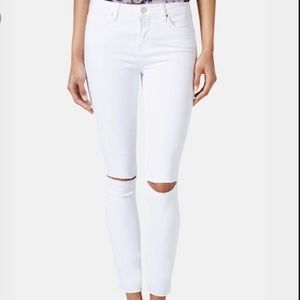 TOPSHOP Leigh White Ripped Jeans